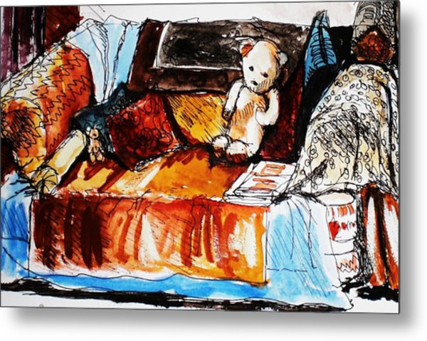 Ted On The Sofa Metal Print by Anne Parker