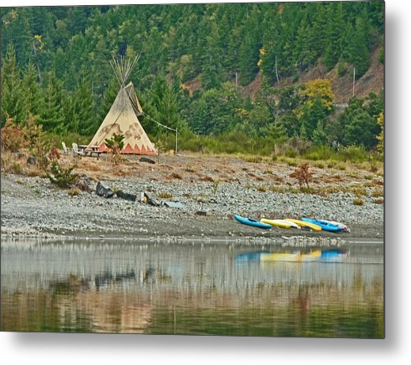 Tee Pee At River Bend  Metal Print by Gracia  Molloy