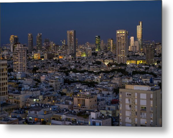 Metal Print featuring the photograph Tel Aviv At The Twilight Magic Hour by Ron Shoshani