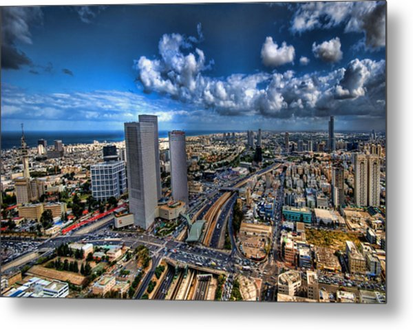 Metal Print featuring the photograph Tel Aviv Center Skyline by Ron Shoshani