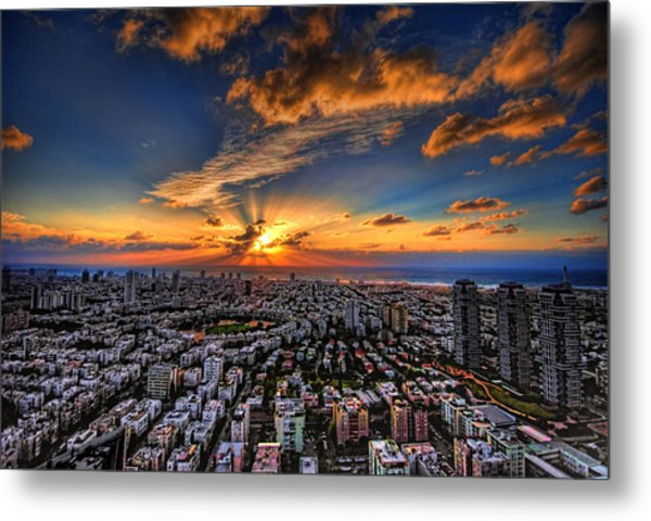 Metal Print featuring the photograph Tel Aviv Sunset Time by Ron Shoshani