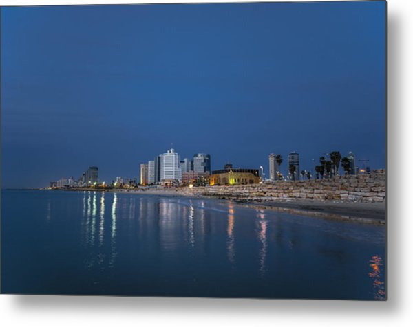Metal Print featuring the photograph Tel Aviv The Blue Hour by Ron Shoshani