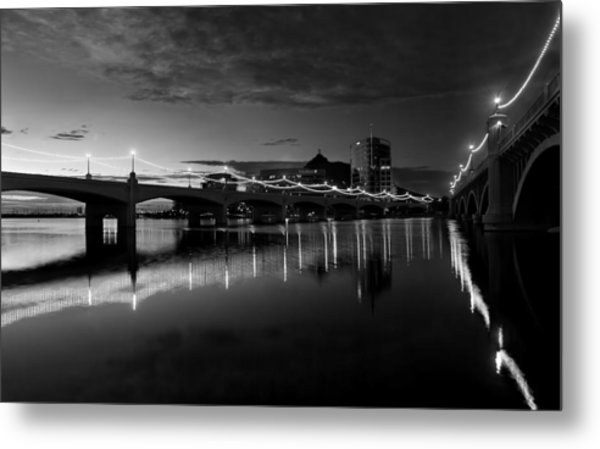 Tempe Town Lake In Black And White Metal Print