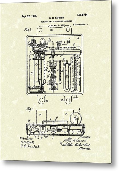 Temperature Regulator 1925 Patent Art Metal Print