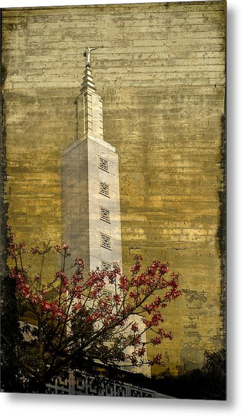 Temple With Red Metal Print