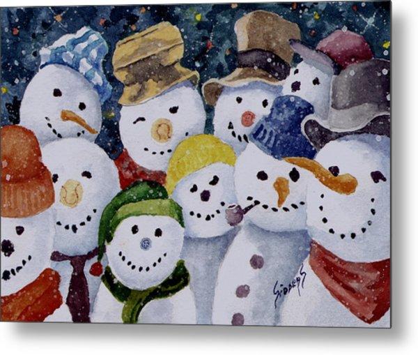 Ten Little Snowmen Metal Print