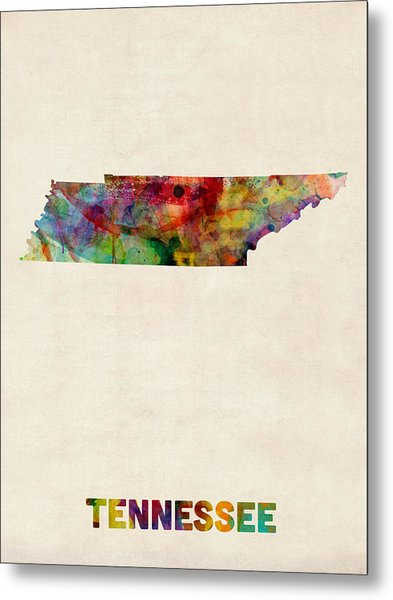 Tennessee Watercolor Map Metal Print by Michael Tompsett