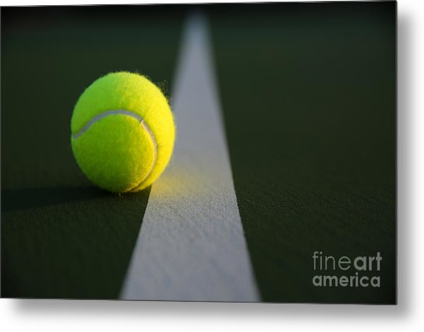 Tennis Ball At Last Light Metal Print