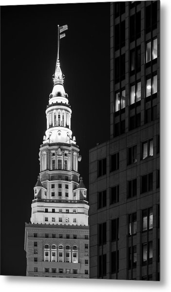 Terminal Tower In Black And White  Metal Print