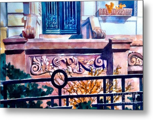 Terra Cotta And Iron Fence Metal Print