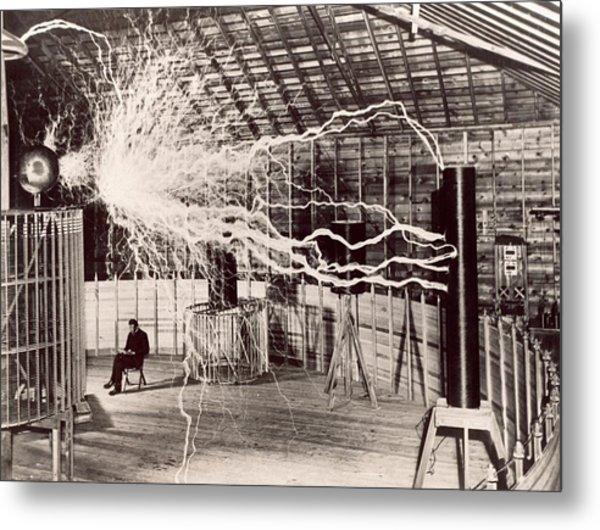 Tesla Coil Experiment Metal Print by Nikola Tesla Museum/science Photo Library