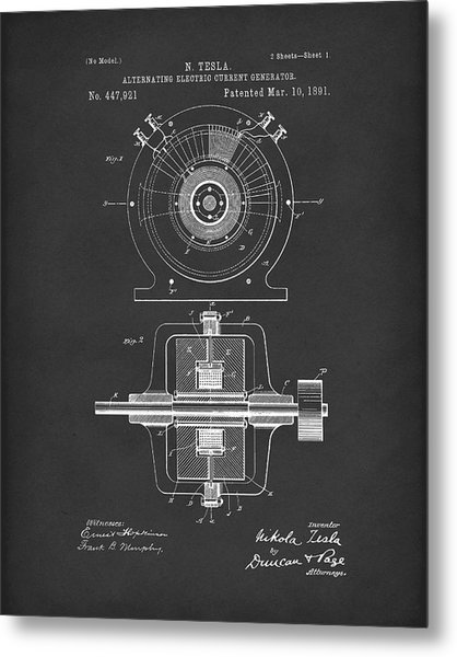 Metal Print featuring the drawing Tesla Generator 1891 Patent Art  Black by Prior Art Design