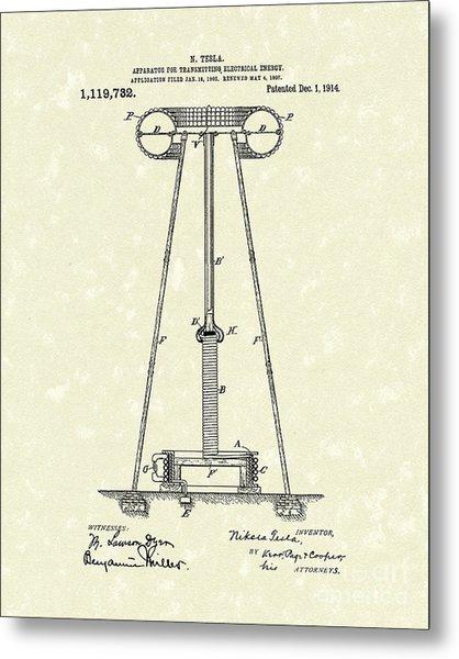 Tesla Transmitter 1914 Patent Art Metal Print