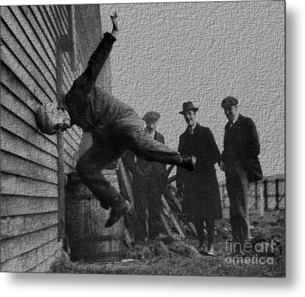 Testing Football Helmets In 1912 Ouchhhhh Metal Print