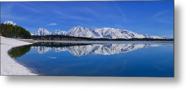 Teton End Of Winter Reflections Metal Print