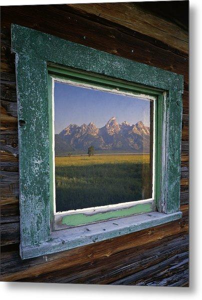Teton Window Reflection Metal Print by Mike Norton