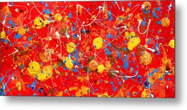 Tetraptych Cosmic Energy - Red Metal Print