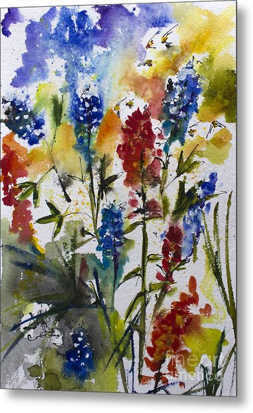 Texas Blue Bonnets And Indian Paintbrush Watercolor Metal Print