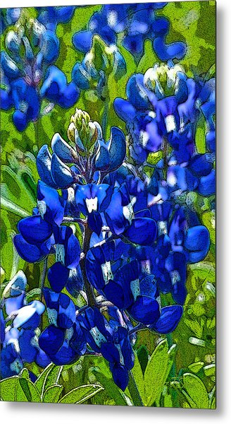Texas Bluebonnets - Posterized Image Metal Print