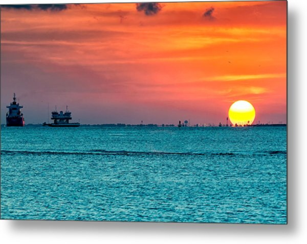 Sunset On The Houston Ship Channel Metal Print