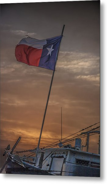 Texas Flag Flying From A Fishing Boat At Sunrise Metal Print