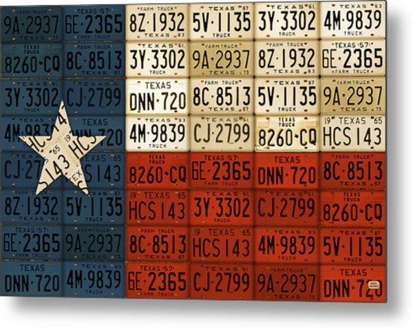 Texas Flag The Lone Star State License Plate Art Metal Print