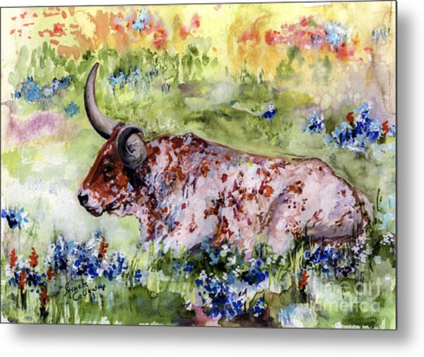Texas Longhorn In Blue Bonnets Metal Print