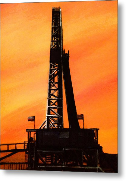 Texas Oil Rig Metal Print