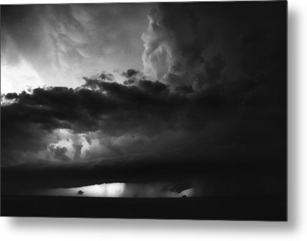 Texas Panhandle Supercell - Black And White Metal Print