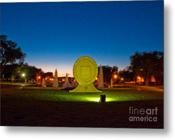 Metal Print featuring the photograph Texas Tech Seal At Night by Mae Wertz