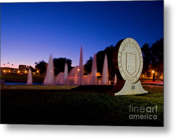 Metal Print featuring the photograph Texas Tech University Seal And Blue Sky by Mae Wertz