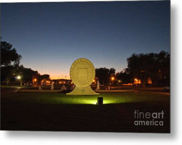 Metal Print featuring the photograph Texas Tech University Seal At Sundown Second Image by Mae Wertz