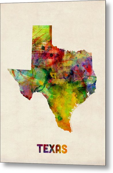 Texas Watercolor Map Metal Print