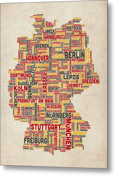 Text Map Of Germany Map Metal Print