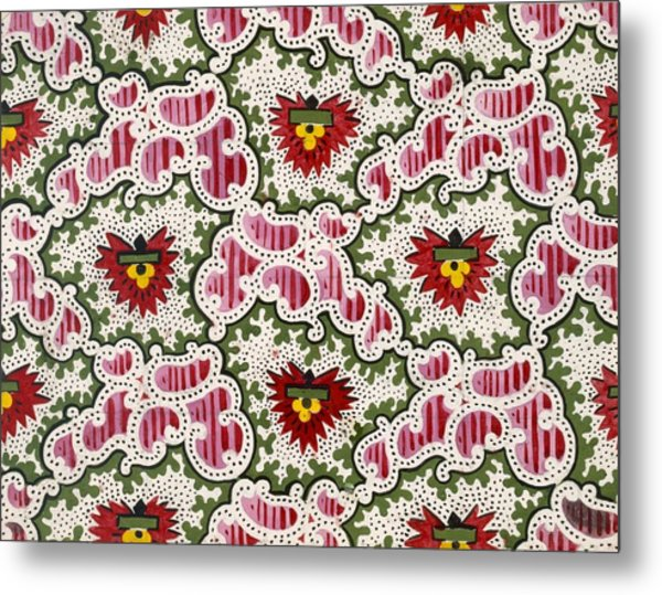 Antique French Textile Design Metal Print