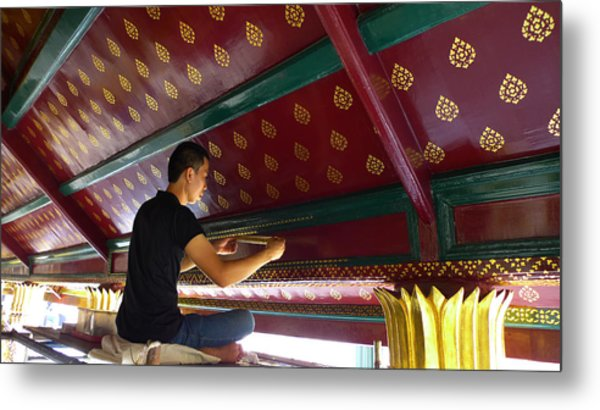 Thai Artisan At Work Metal Print