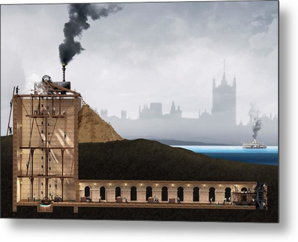 Thames Tunnel Construction Metal Print by Claus Lunau/science Photo Library