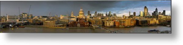 Thames With St Paul's Panorama Metal Print