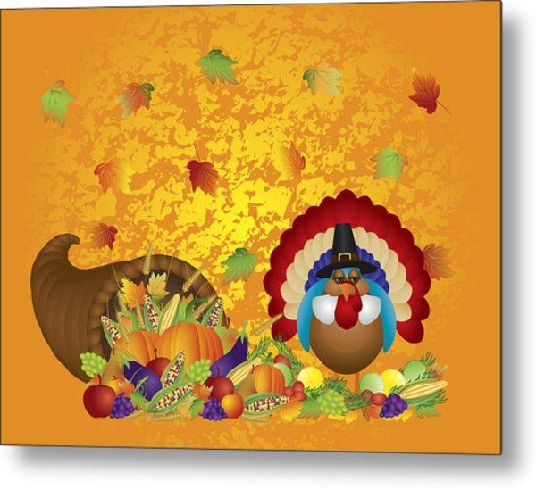 Thanksgiving Day Feast Cornucopia Turkey Pilgrim With Background Metal Print
