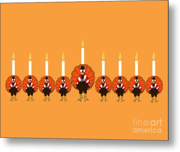 Thanksgivukkah Turkey Menorah Metal Print