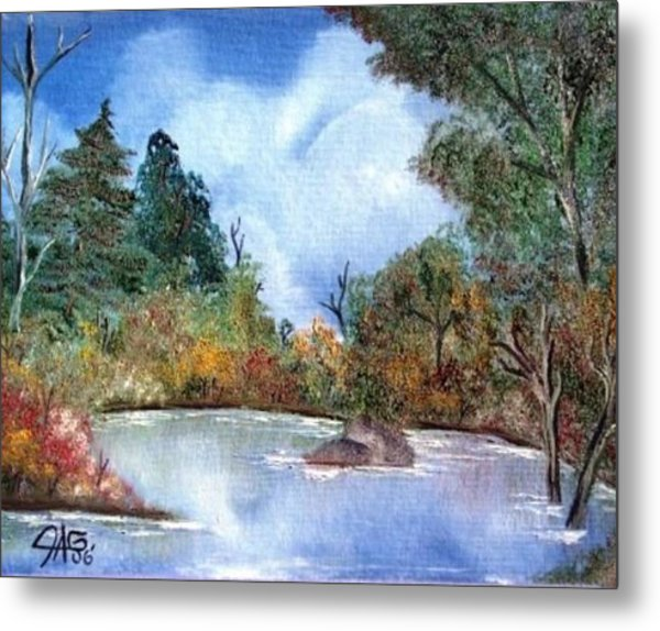 That Emerald Place Of Natures Beauty At Looking Glass Pond Metal Print