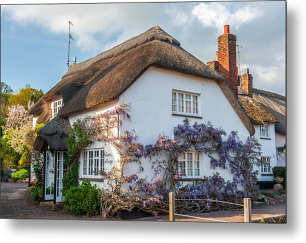 Thatched Cottage In Otterton Devon Metal Print by David Ross
