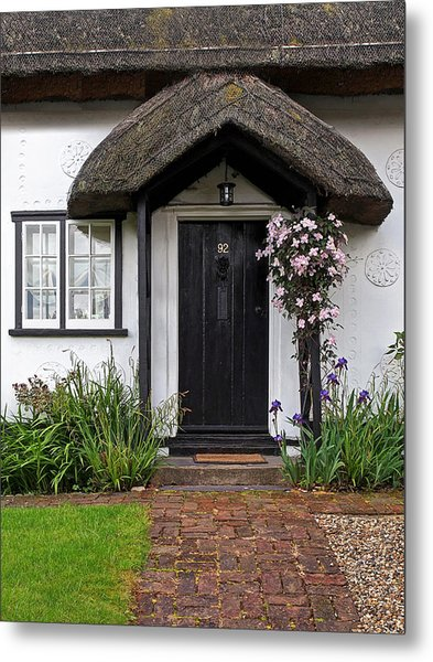 Thatched Cottage Welcome Metal Print by Gill Billington
