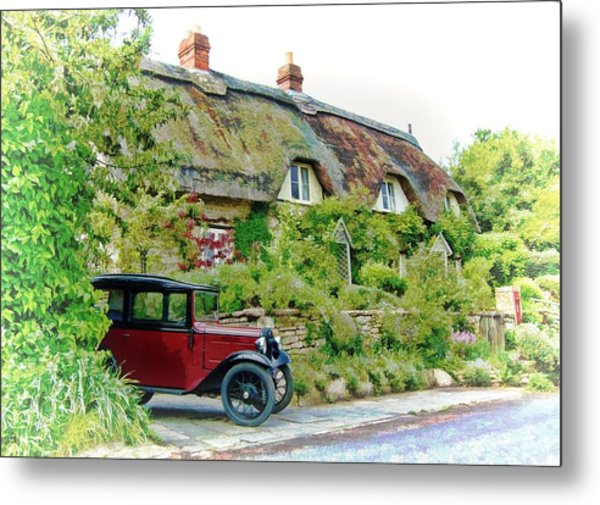 Thatched Cottages At Reybridge Metal Print