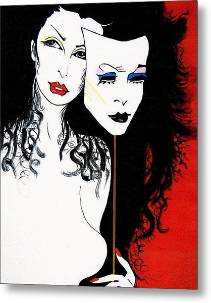 The 2 Face Girl Metal Print