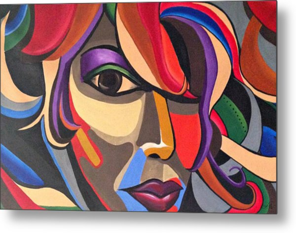 Abstract Woman Art, Abstract Face Art Acrylic Painting Metal Print