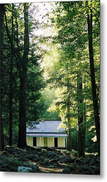 The Alfred Reagan Cabin Gatlinburg Metal Print by John Saunders