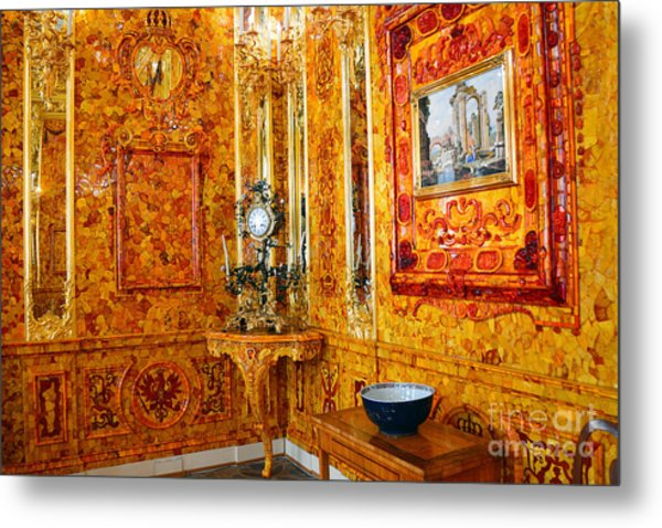 The Amber Room At Catherine Palace Metal Print