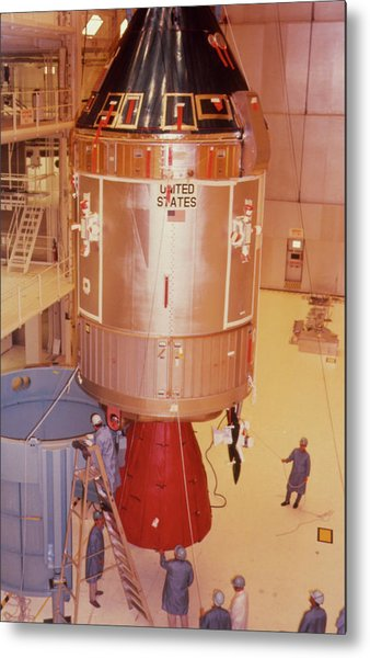 The Apollo 11 Spacecraft Being Prepared For Launch Metal Print by Nasa/science Photo Library