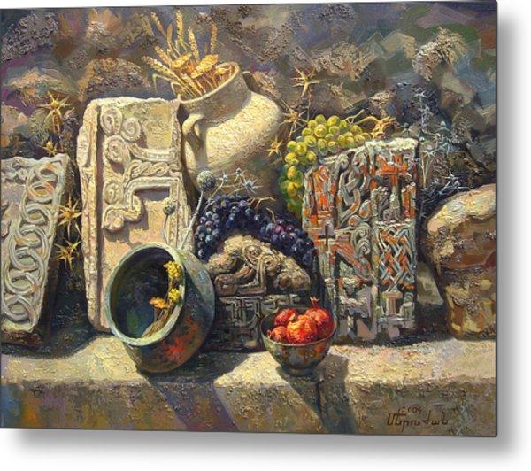 The Armenian Still Life With Cross  Stone Khachkar Metal Print by Meruzhan Khachatryan